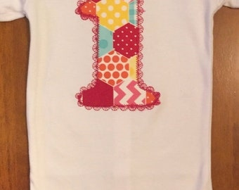 ON SALE Rainbow Patchwork Birthday Shirt or Baby Bodysuit