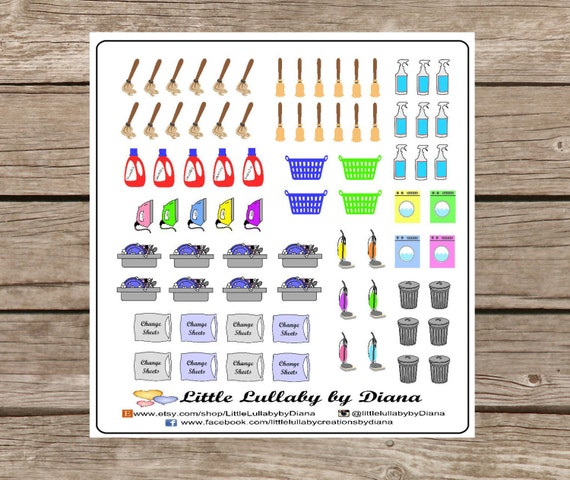 household chores planner sticker set erin condren life