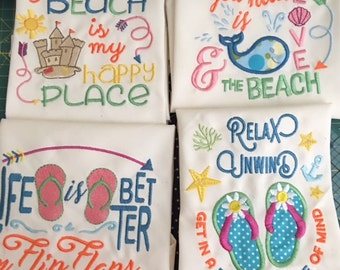 """4 Beach Themed  19 x 19"""" napkins or towels,  New,  Embroidered and appliqued"""