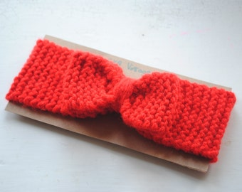 Red bow knitted head band