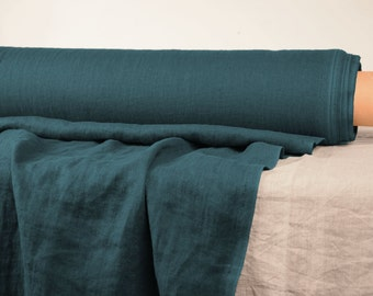 Pure 100% linen fabric. 190gsm. Dark turquoise color. Middle weight, densely woven, washed-softened. For clothes, the other usage.