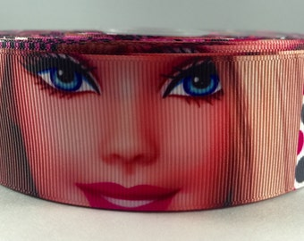 "3 Yards 1.5"" Barbie Face-Zebra Grosgrain Ribbon-Printed-Hair bow Supply-Girls-Sewing-Fabric-Supplies-Party Decor-Craft"