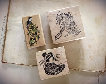 Japanese Rubber Stamp Collection Lot of 3