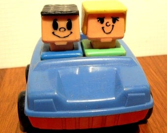 Vintage Playskool Macdonalds Square People and Car 1974