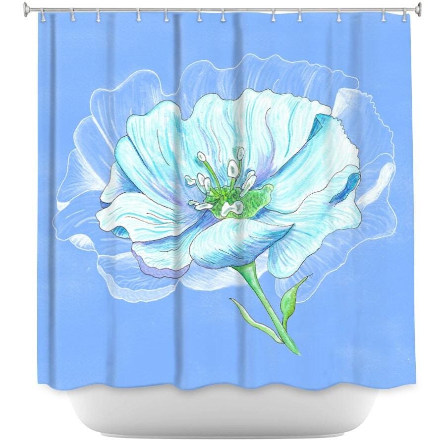 Blue Flower Shower Curtain Vibrant Fabric Shower Curtain