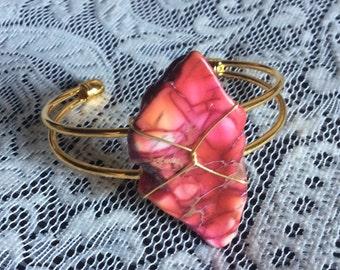Pink Howlite Bracelet - Pink Howlite Cuff Bracelet - Pink Cuff Bracelet - Pink Bracelet - Pink Howlite Cuff - Pink Howlite and Gold Bracelet