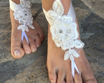 New..French Lace Barefoot Sandals..Wedding Barefoot sandals.white lace Barefoot sandals.bridesmaid bride Barefoot sandals..beach Wedding