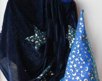 Blue Velvet Wizard Cape and Hat