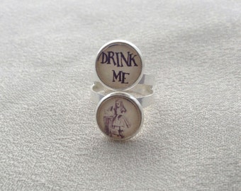 """Alice in Wonderland """"Drink Me"""" Double Image Ring in Silver"""