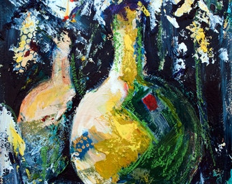 Impressionist Acrylic Painting of Two Vases overflowing with Lacy White Flowers.