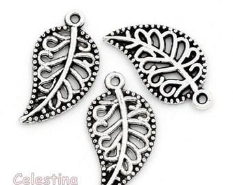 20 Filigree Tibetan Silver Leaf Charms Pendants - Leaves Beads - Ornate - 18mm - TS487