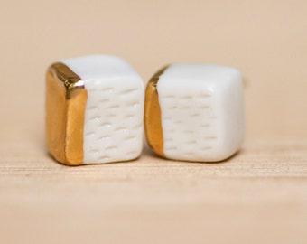 Furry Cubes Porcelain Earrings
