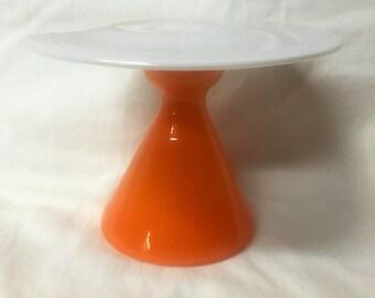 Cupcake Plate- Orange and White