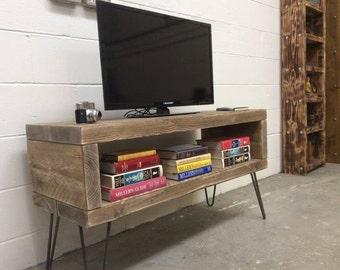 Handmade solid reclaimed wood tv multimedia stand