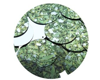 Sequin Mistletoe Green White Leaves and Buds Round 30mm Couture Loose Paillettes Discs