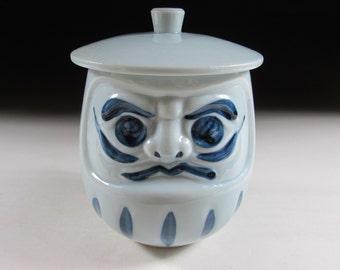 Blue Lidded Daruma Tea Cup