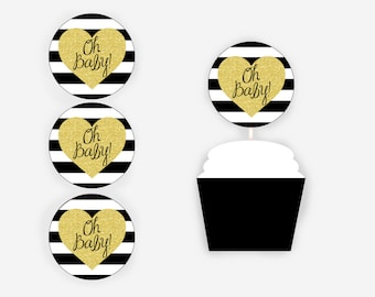 Oh Baby! Cupcake Toppers, Black and Gold Glitter Cupcake Toppers, Black and Gold Baby Shower, Baby Shower Decorations, Item 260