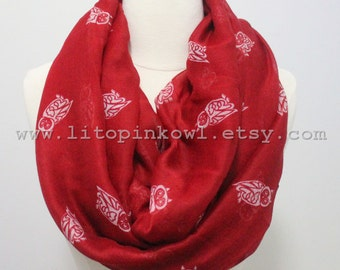 Owl Scarf, Red Owl Infinity Scarf, For Her, Birthday Gift, Red Scarf, Spring Scarf, Summer Scarf, Loop Scarf, Womens Scarves, Gifts Mom