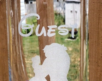 Engraved Wedding centerpiece  Be Our Guest Beauty and the Beast Etched Glass Vase Candle holder  Disney Themed Wedding