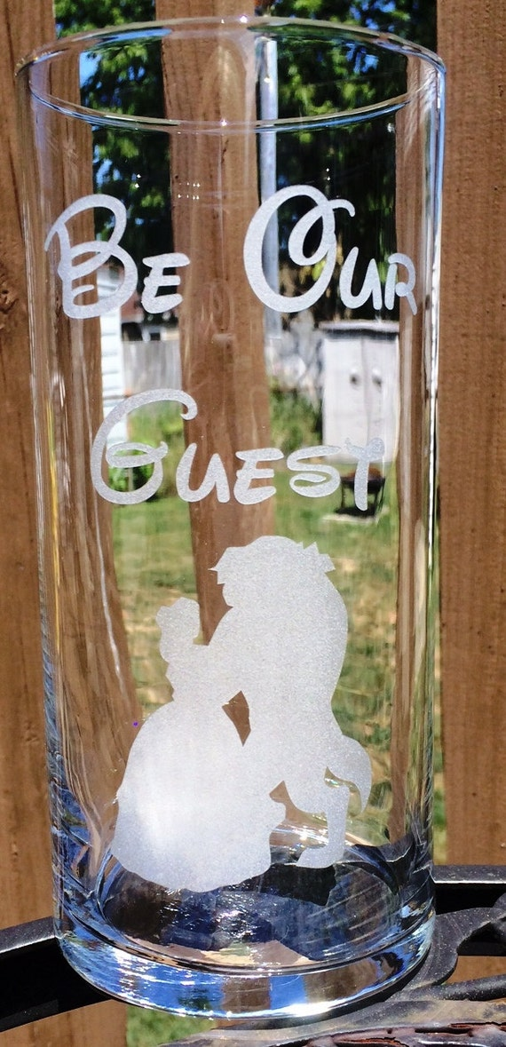 Engraved wedding centerpiece be our guest beauty and the