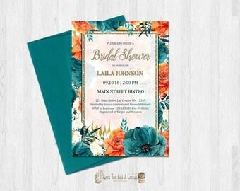 Vintage Floral Bridal Shower Invitation Wedding Burnt Orange and Teal Flower Printable Digital File Gold Glitter Printed Prints Party