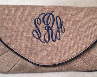 Monogram Clutch, Monogram Summer Purse, Monogram Burlap Clutch, Bridesmaids Gifts, Birthday Gift, Monogram Wristlet