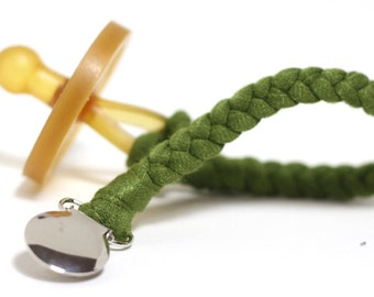 BEST SELLING Pacifier Clip / OLIVE Braided Pacifier Clip / soothie / binky clip / pacifier holder
