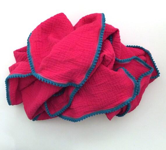 Baby Girl Blanket / Bright Pink and Aqua Pom Pom Blanket /Gauze Blanket / Blanket / Blanket / Newborn Blanket / Newborn Baby Blanket