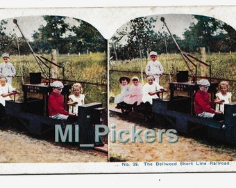 """Antique Stereoview Card Children on TRAIN w/CRANE """"Delwood Short Line Railroad"""" vintage stereopticon Kids Playing one is a Conductor"""
