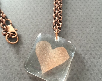 Heart Necklace in Clear Glass