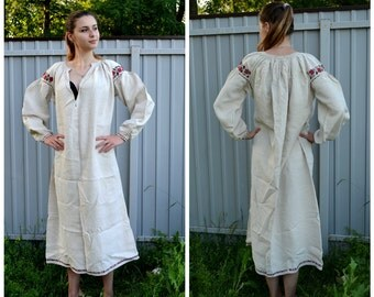 Antique Homespun Dress, Ukrainian Vyshyvanka, Traditional Embroidered, Hand Sewn, victorian nightgown, Natural Rustic Grey homespun linen