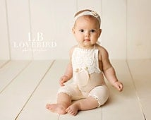 NEWBORN,6M, 12M SITTER SET baby stretch romper, toddler photo prop,blush, embroidered trim, handmade photo prop, baby photography, lace bib