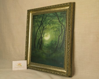 """original artwork painting, """"green moon"""" with raised painting, framed, 12,2"""" x 14,5"""""""