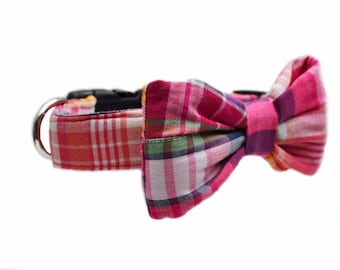 Red Madras Dog Bow Tie Collar