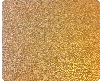 Gold Leather Fabric Sheet Thin 0.7mm A5 | A4 8x11 Size Gold Faux Leatherette Fabric - Gold Small Lychee Pattern PU Leather Thin Leatherette
