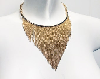 Ball chain fringe choker necklace in gold plate