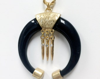 Double horn pendant necklace in black lacquer with gold charms and CZ pave crystals