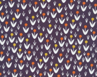 Morning Song - Dotty Blooms(Navy Background) - Elizabeth Olwen - Organic Fabric - Cloud 9
