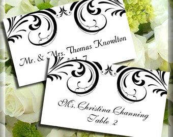 Black Swirl Place Cards Editable Template Flat or Tented