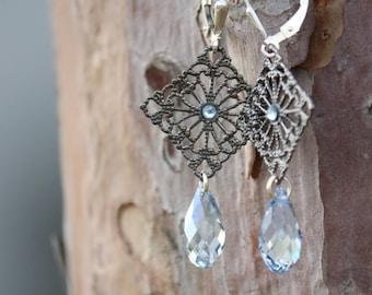 Maayan: Iridescent Teardeop Swarovski Crystals Earrings