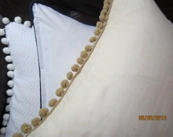 "Ecru cotton linen throw pillow with tan pompom trim, 16x16"""