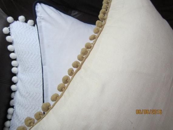 Tan Linen Throw Pillow : Ecru cotton linen throw pillow with tan pompom trim