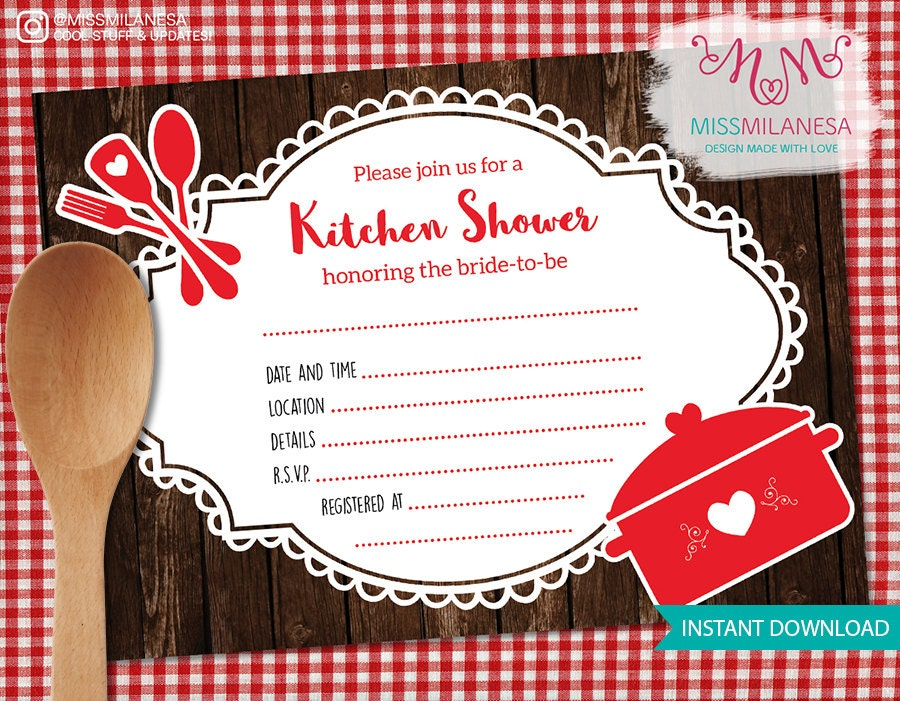 Kitchen bridal shower fill in invitation kitchen shower fill for Bridal shower fill in invitations
