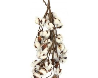 "Cotton Swag~Cotton Boll~21"" Stem~Rustic Wedding-Barnwood-Cotton-Rustic Cotton~Farmhouse~Rustic decor~farmhouse decor~Button Leaf Blossom"