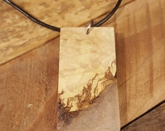 Maple Burl and Resin Necklace - #NWT001