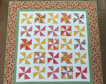 Bright Pink, Yellow, and green Baby Girl Quilt