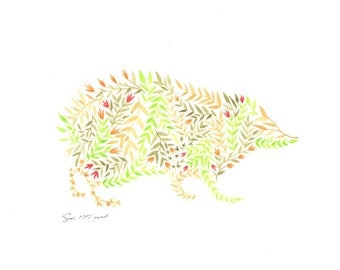Hedgehog DIGITAL PRINT, animal silhouette, Original Watercolor Art, forest animal, nature art, nursery decor, boho, hippy, colour