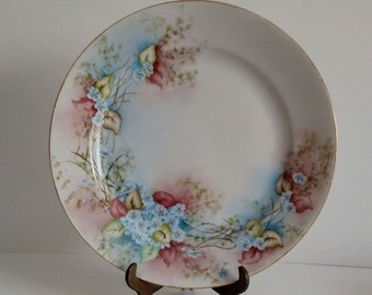 Antique J&C Bavaria Hand painted~signed and dated plate-1922-Stunning forget me not flowers