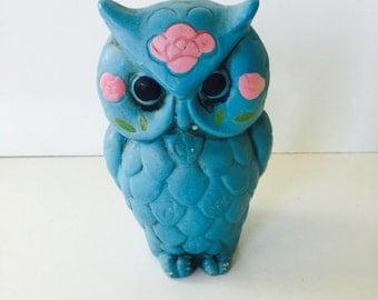 Vintage Paper Mache Owl Bank Rrtro Seventies Kitsch