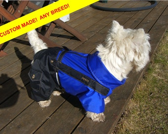ANY BREED! Dog Waterproof Clothing. Raincoat. Dog Full Body Suit. Dog Jacket. Dog Overall. Custom Made.